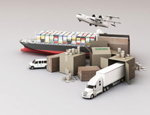 rendering-export-crate-box-surrounded-by-cardboard-boxes-cargo-container-ship-flying-plan-car-van-truck